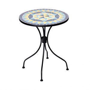 PALAZZO Stůl s mozaikou - krémová/modrá