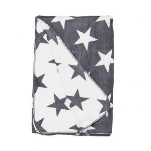 MACIO Flanelová deka hvězdy - šedá/bílá