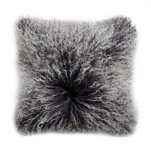 TASHI Polštář z tibetské jehněčí kůže 40 x 40 cm - tm. šedá