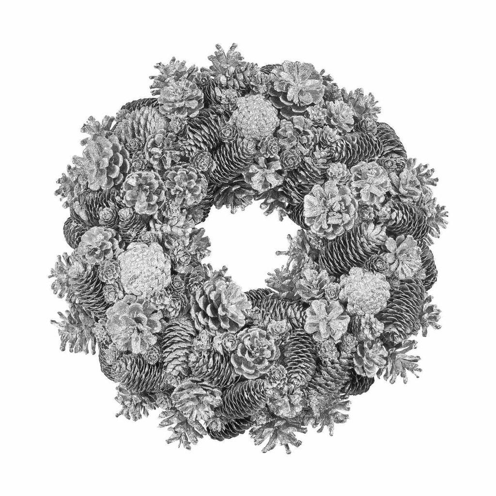 WINTERGREEN Věnec ze šišek 40 cm - stříbrná
