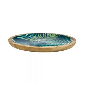 TROPICAL Dekorační dřevěný talíř džungle 32 cm