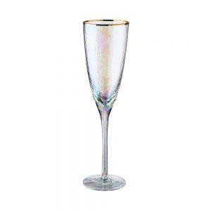 SMERALDA Sada sklenic na šampaňské se zlatým okrajem 250 ml 6 ks