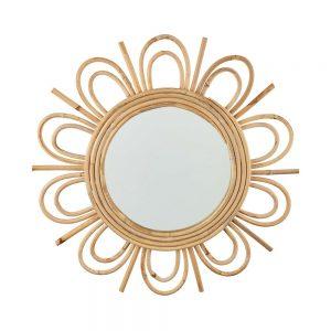 COTTAGE Ratanové zrcadlo ve tvaru květiny