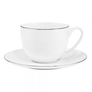 SILVER LINING Šálky na kávu s podšálky 240 ml set 6 ks