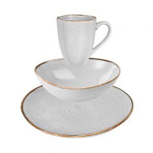 FINCA Snídaňový set nádobí 12 ks - sv. šedá