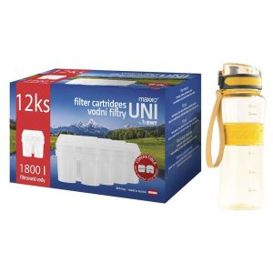 Maxxo Výhodná sada UNI vodní filtry 12 ks + sportovní láhev