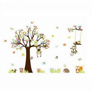 Samolepka na zeď Samolepka pohádkový strom sovičky