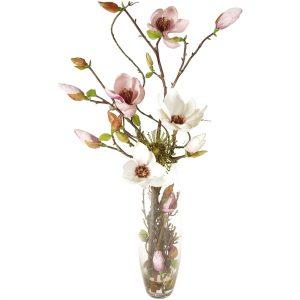Umělá květina Magnolie ve skleněné váze