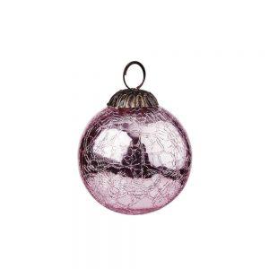 HANG ON Vánoční koule popraskaný vzor 8 cm set 6 ks - sv. růžová
