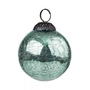 HANG ON Vánoční koule popraskaný vzor 8 cm set 6 ks - mátová