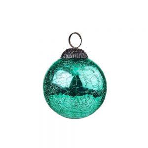 HANG ON Vánoční koule popraskaný vzor 8 cm set 6 ks - tyrkysová