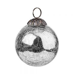 HANG ON Vánoční koule popraskaný vzor 8 cm set 6 ks - stříbrná