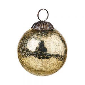 HANG ON Vánoční koule popraskaný vzor 8 cm set 6 ks - zlatá