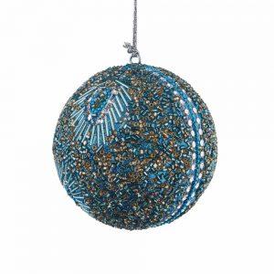 HANG ON Vánoční koule s korálky 8 cm sada 4 ks - tyrkysová
