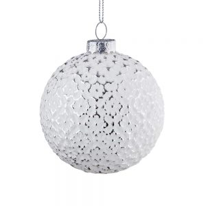 HANG ON Vánoční koule ornament 8 cm set 6 ks - bílá