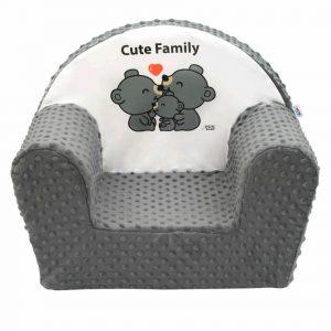 New Baby Dětské křesílko z Minky Cute Family šedá
