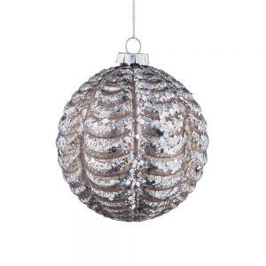 HANG ON Vánoční koule 8 cm set 6 ks - šedá/stříbrná