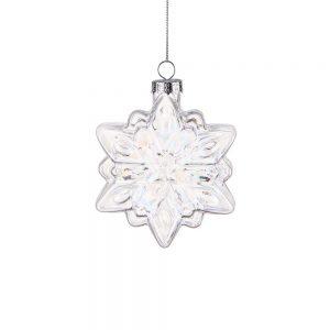 HANG ON Sada vánočních ozdob ledový krystal 9 cm set 6 ks