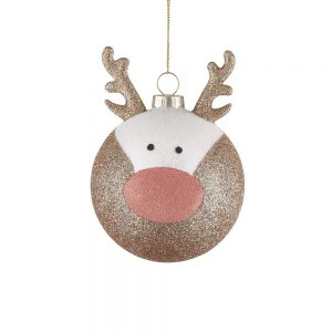 HANG ON Vánoční koule jelen třpytivá 8 cm set 6 ks