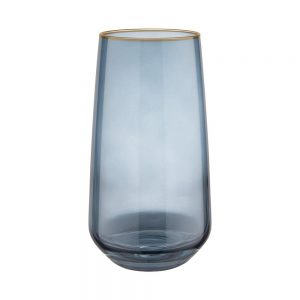 TOUCH OF GOLD Sada sklenic na long drink se zlatým okrajem 480 ml set 6 ks - tm. modrá