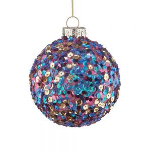 HANG ON Vánoční koule flitry 8 cm set 6 ks - mix