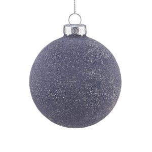 HANG ON Vánoční koule třpytivé 8 cm set 6 ks - šedá