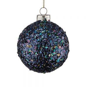 HANG ON Vánoční koule třpytky 8 cm set 6 ks - černá