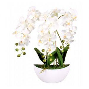 Umělá Orchidej v květináči bílá