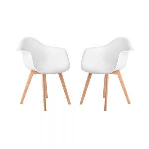 SEAT-OF-THE-ART Židle s područkami set 2 ks - bílá