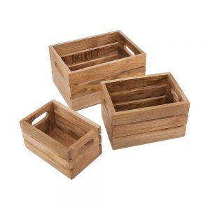 MANGO DAYS Bedýnka z mangového dřeva set 3 ks