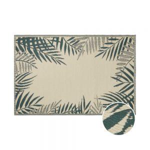 COLOUR CLASH Vnitřní a venkovní koberec palmy 180 x 120 cm - zelená/krémová