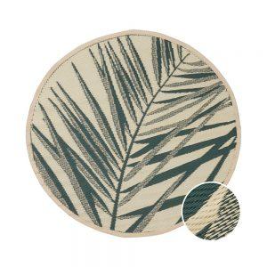 COLOUR CLASH Vnitřní a venkovní koberec palmy 118 cm - zelená/krémová