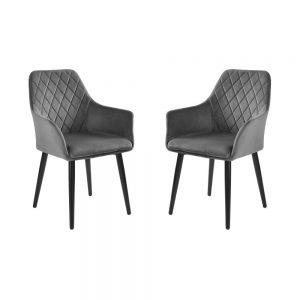 VELVET Sametová židle set 2 ks - tm. šedá