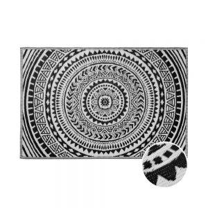 COLOUR CLASH Vnitřní a venkovní koberec kruhy 180 x 120 cm - černá/bílá