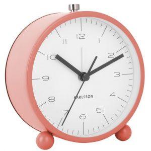 Time for home Korálově růžový kovový budík Drol