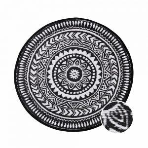 COLOUR CLASH Vnitřní a venkovní koberec květiny 118 cm - černá/bílá