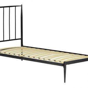 Grafitově černá kovová postel LaForma Natacha 90 x 190 cm