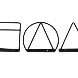 House Doctor Set tří černých kovových nástěnných stojanů Loge