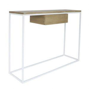 take me HOME Bílý kovový toaletní stolek Skinny 100x30 cm s dubovou zásuvkou