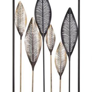 Time for home Černo-zlatá kovová nástěnná dekorace Fuin Leaves