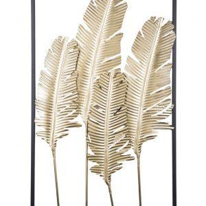 Time for home Zlatá kovová nástěnná dekorace Fuin Feathers