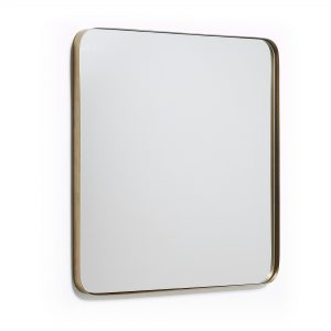 Zlaté kovové nástěnné zrcadlo LaForma Marcus 60 x 60 cm