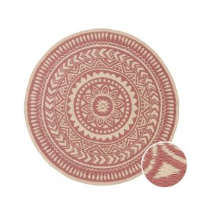 COLOUR CLASH Vnitřní a venkovní koberec květiny 118 cm - sv. červená/krémová