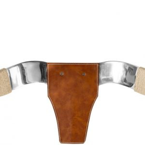 Moebel Living Hnědý kožený věšák Taurus s chromovanými rohy