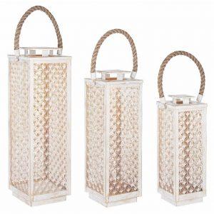 Set tří bílých kovových luceren Bizzotto Kalene