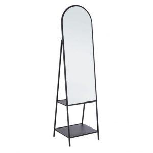 Černé kovové stojací zrcadlo Bizzotto Arin 172 cm