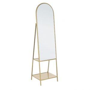 Zlaté kovové stojací zrcadlo Bizzotto Arin 172 cm