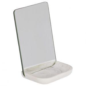 Bílé kosmetické stolní zrcadlo LaForma Sharif s podstavcem 17